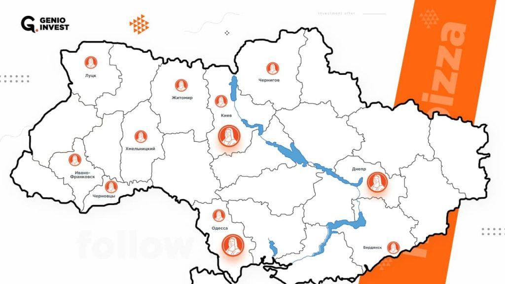 Карта проекта Монопицца в Украине сегодня: 12 работающих точек, на этапе запуска находится 5 новых